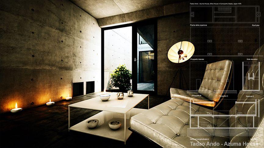 Azuma House - Tadao Ando - Dal blueprint al fotorealismo