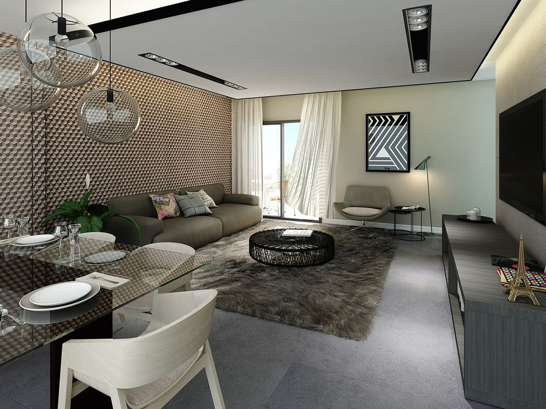 Living Room Residential Apartment / Sta Felicidade