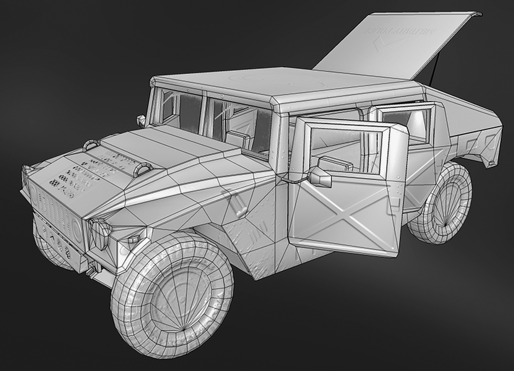 Hummer Low Poly Topology.png