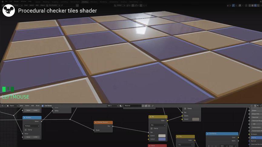 Procedural checker tiles shader