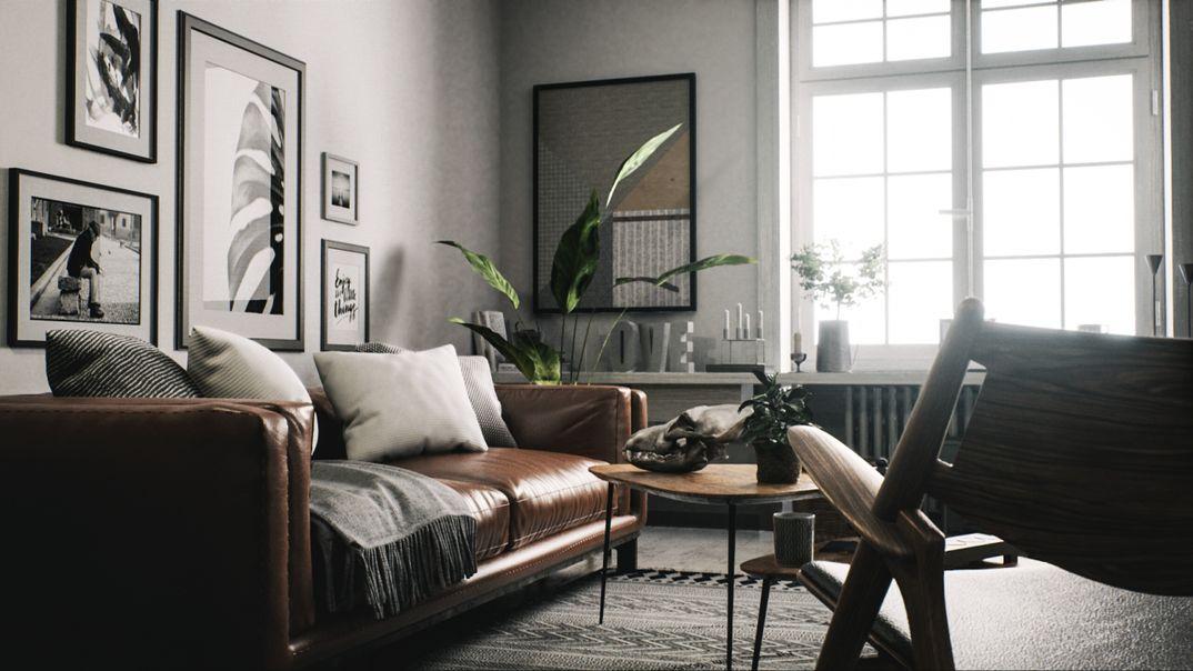 Scandinavian interior realtime raytrace render Unreal Engine 4.22