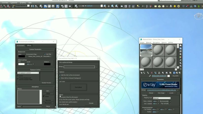 Find And Bind - V-Ray Sun e setup HDRI automatici per 3ds Max