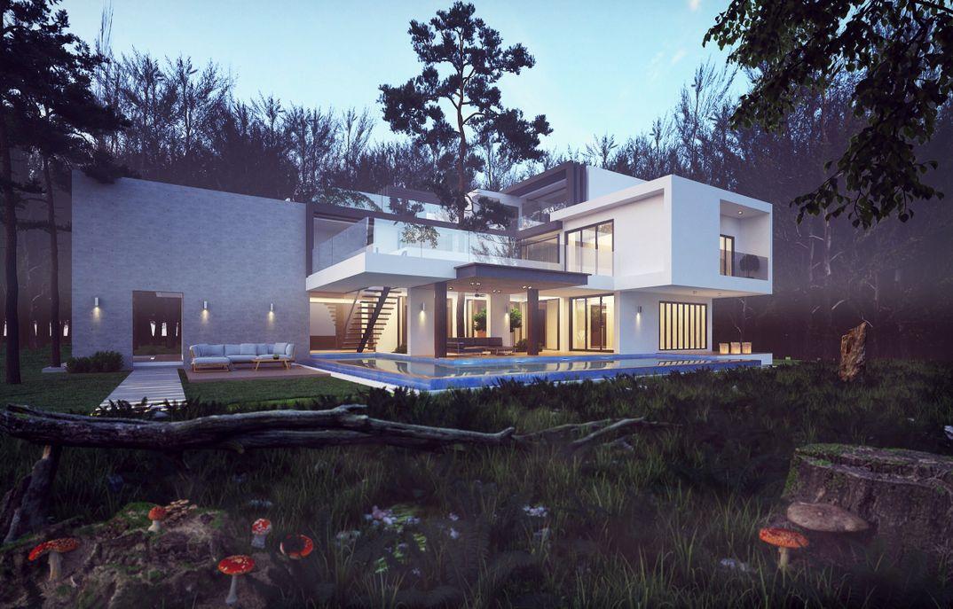 Modern House in Forest scene render Vray