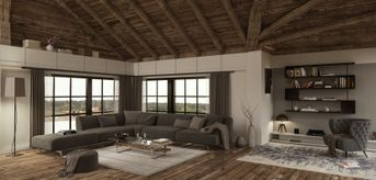 Attic living render Corona view 1