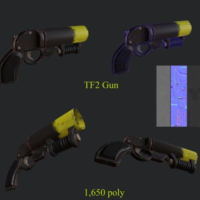 Gun replica TF2 (low poly)