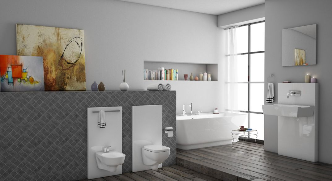 Interior realistic bathroom render