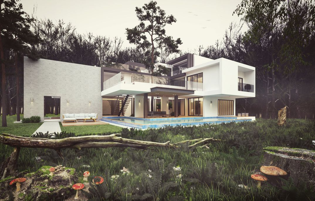 Modern house in Forest Vray render