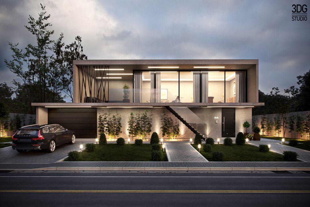 Modern villa exterior visualisation