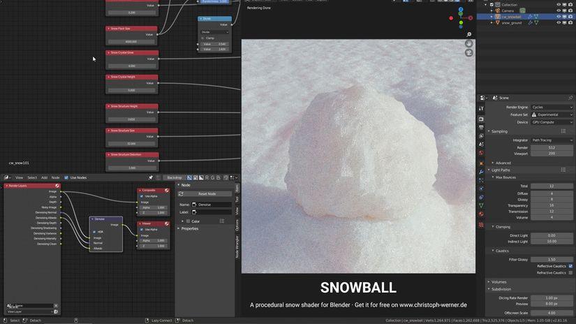 Neve procedurale per Blender 2.8