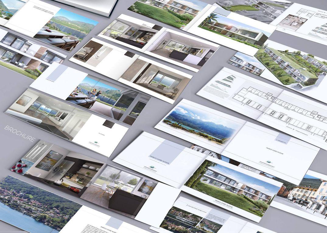 Render di esterni ed interni ville a schiera.Realizzazione brochure illustrativa progetto