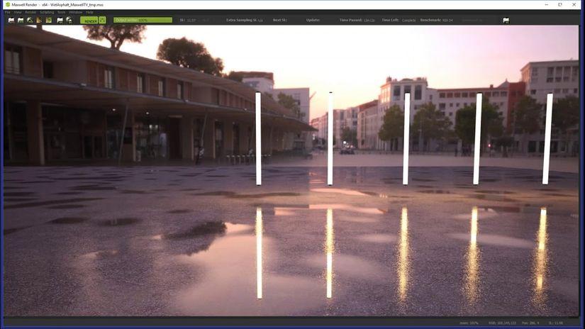 Creare un asfalto bagnato con Maxwell Render