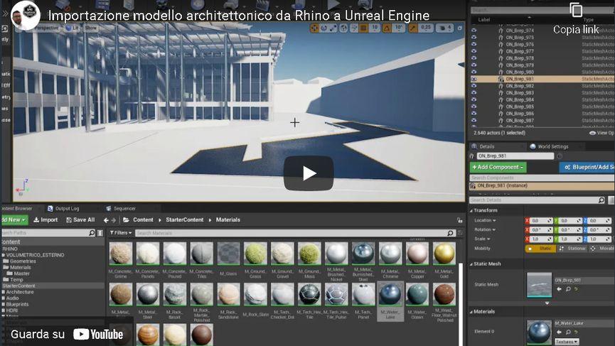 Importazione di un volumetrico architettonico da Rhino in Unreal Engine