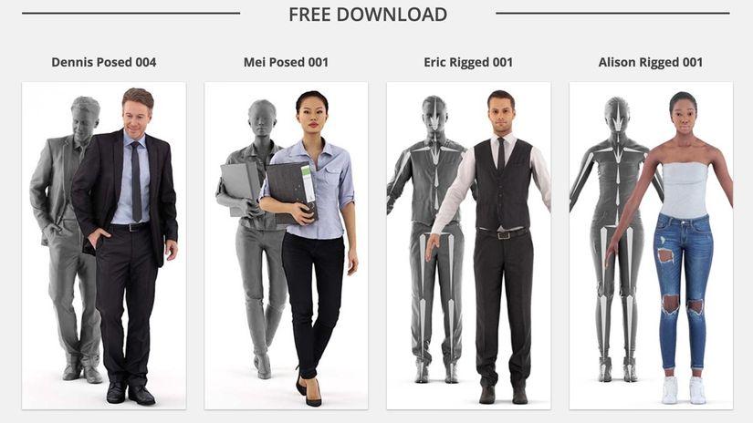Renderpeople: Quattro personaggi 3D da scaricare gratuitamente