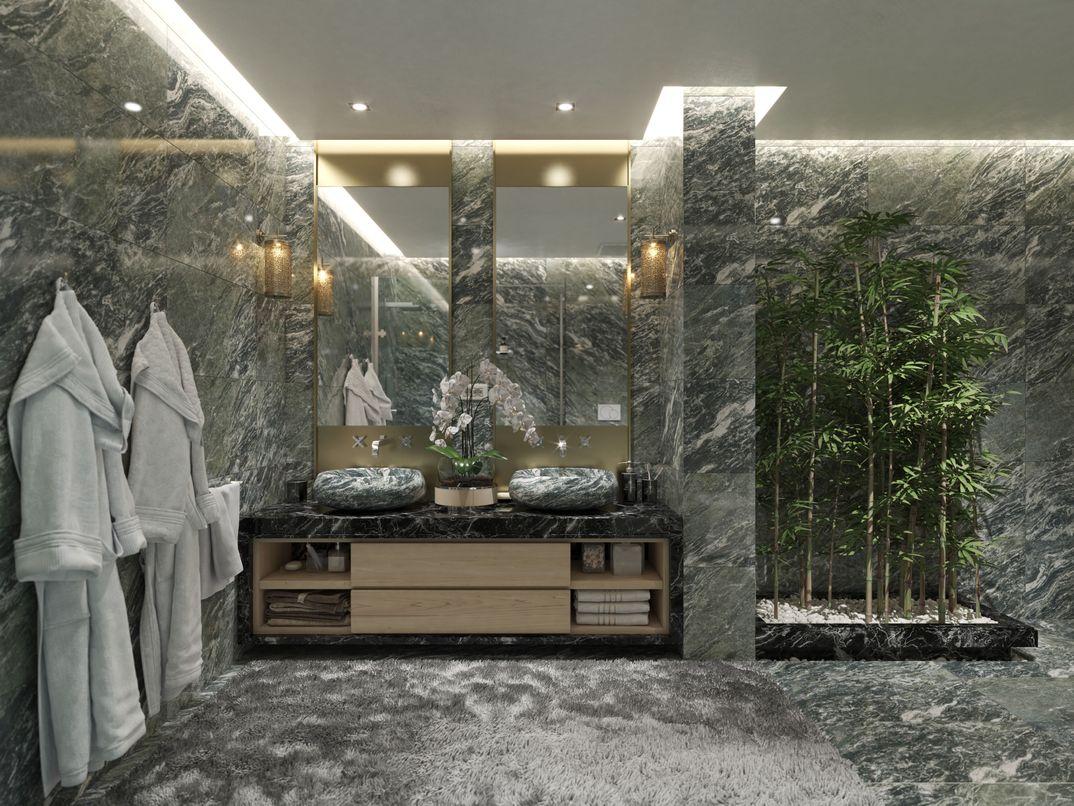 bagno moderno in marmo verde