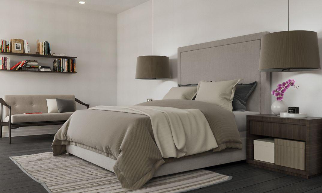 Bedroom restoration hardware scene