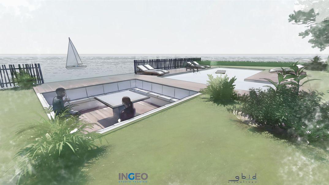 concept zona relax con piscina