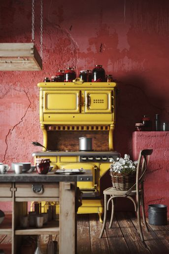 Red kitchen Mediterranea Italy