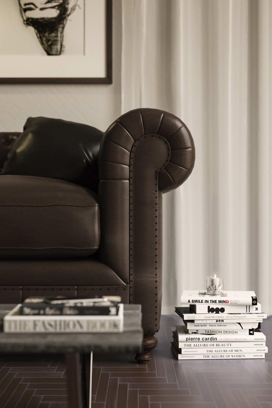 Detail version armchair chesterfield render Corona