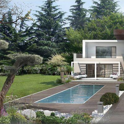 Render villa con piscina.