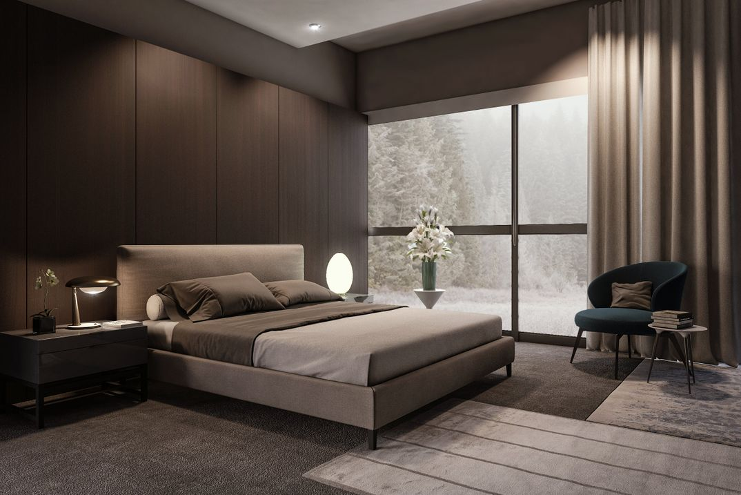 Minotti bedroom render vray