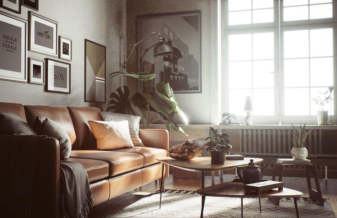 Scandinavian interior raytrace render realtime UE4.22