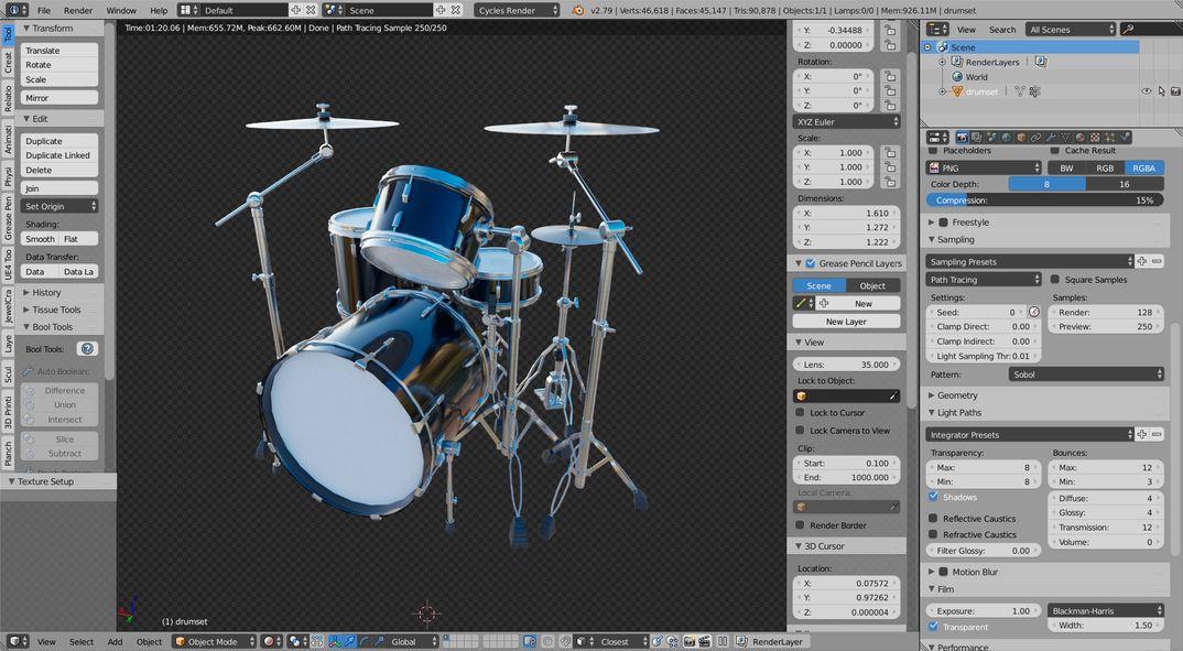 Drum Set lowpoly