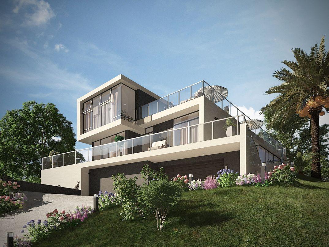 Villa moderna grafico3dstudiomax for Villa moderna