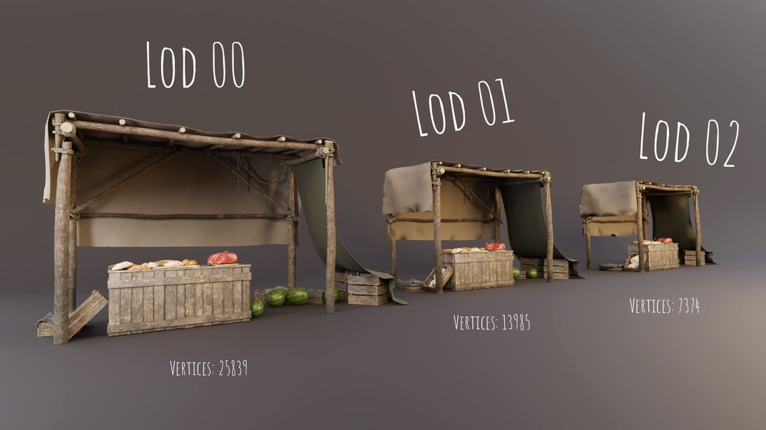 The Medieval Market Stall lowpoly