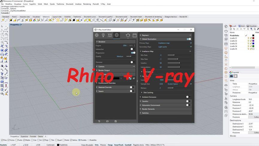 Come gestire l'interfaccia di V-ray all'interno di Rhino 6