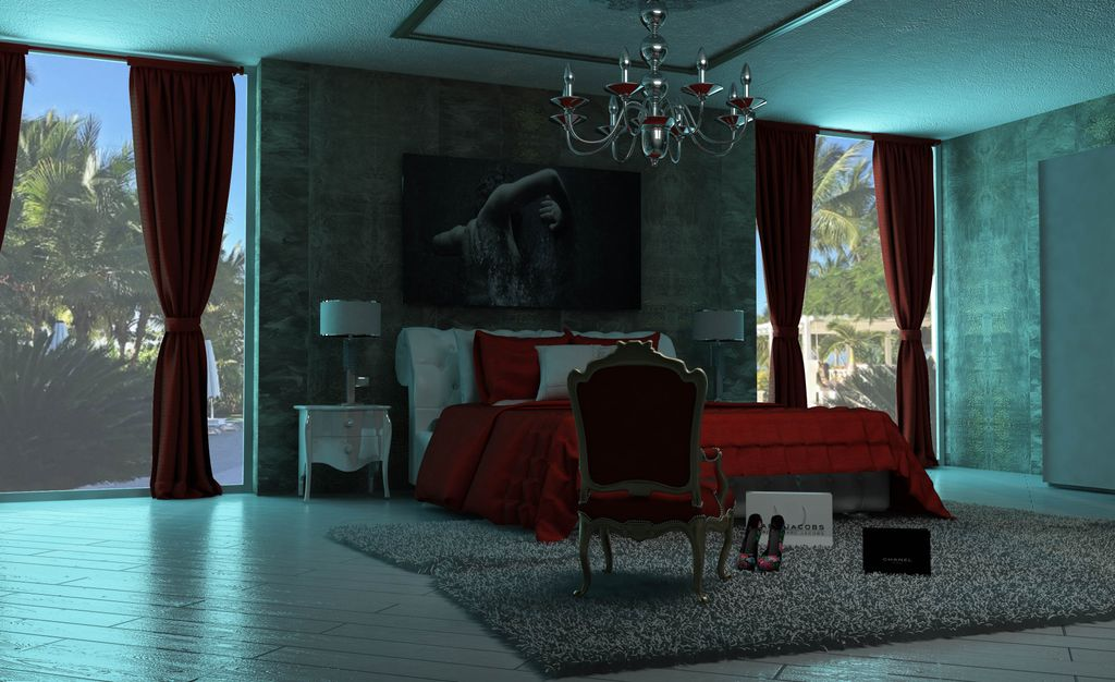 studio render camera da letto