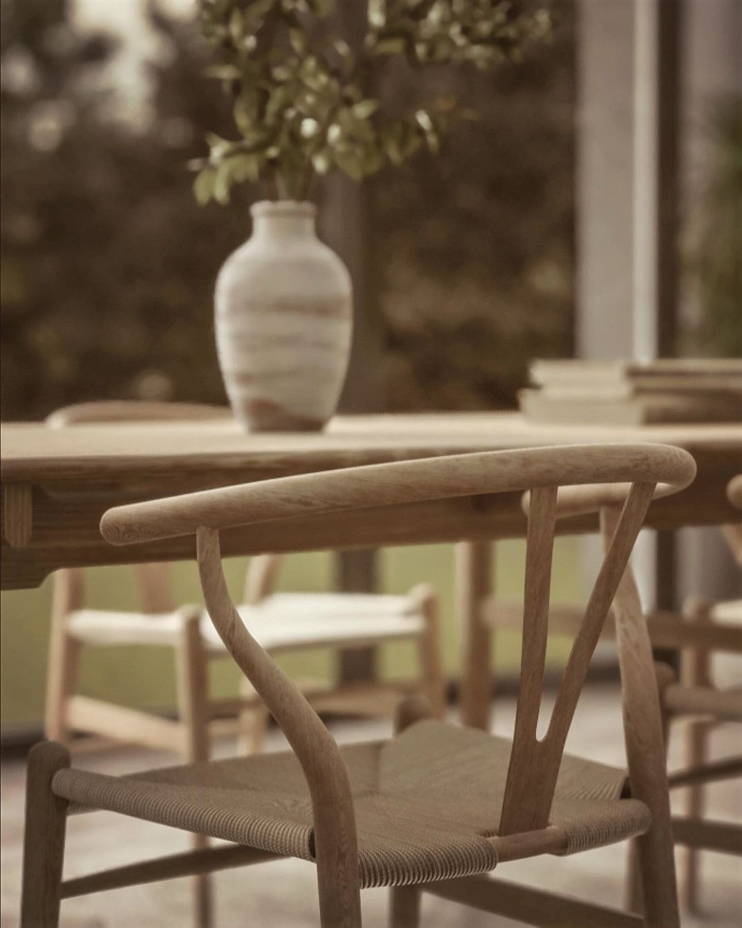 Archviz Wishbone chair render Unreal Engine 4.23 raytrace
