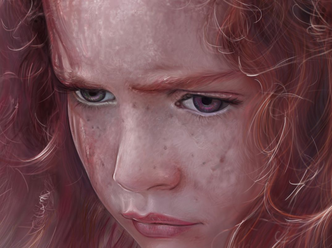 digital painting of a sulky little girl