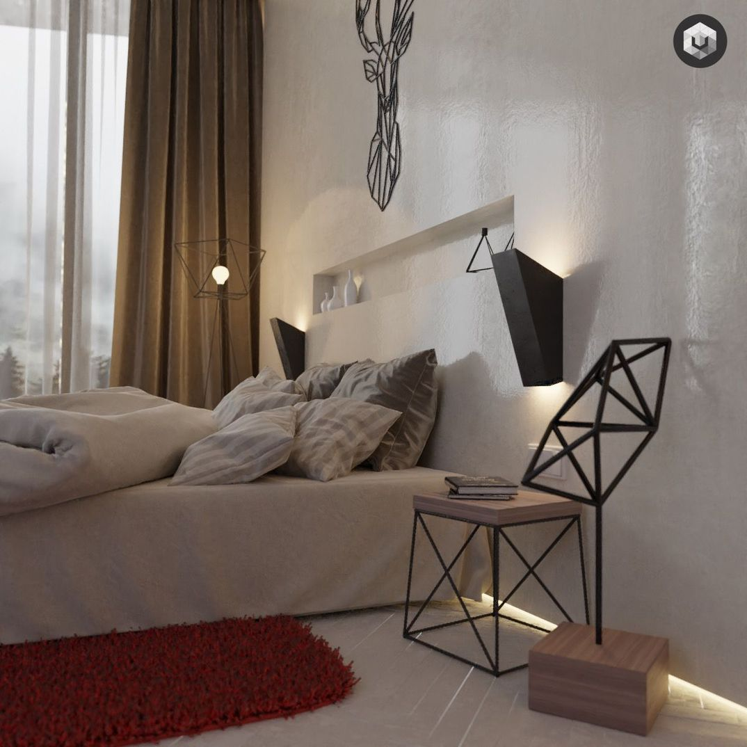 Detailed Concrete and Wood Bedroom