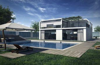 Esterno moderno con piscina