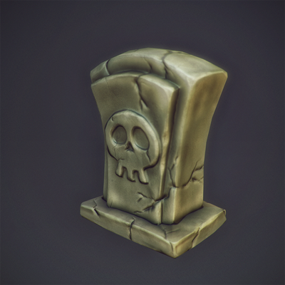 graveyard stone low poly