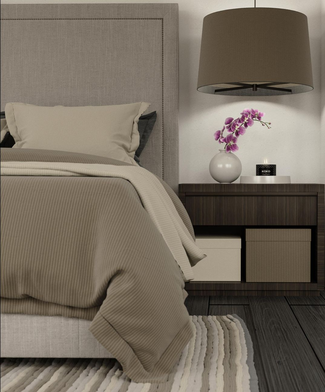 Bedroom RH detail render Corona