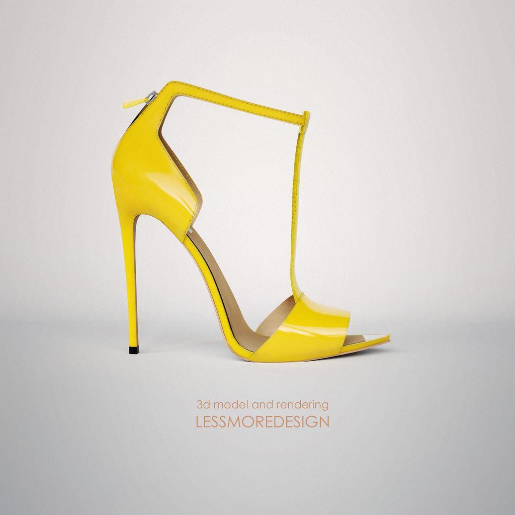 Modellazione e rendering scarpa donna tacco alto
