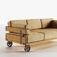 Industrial 3d model of sofa