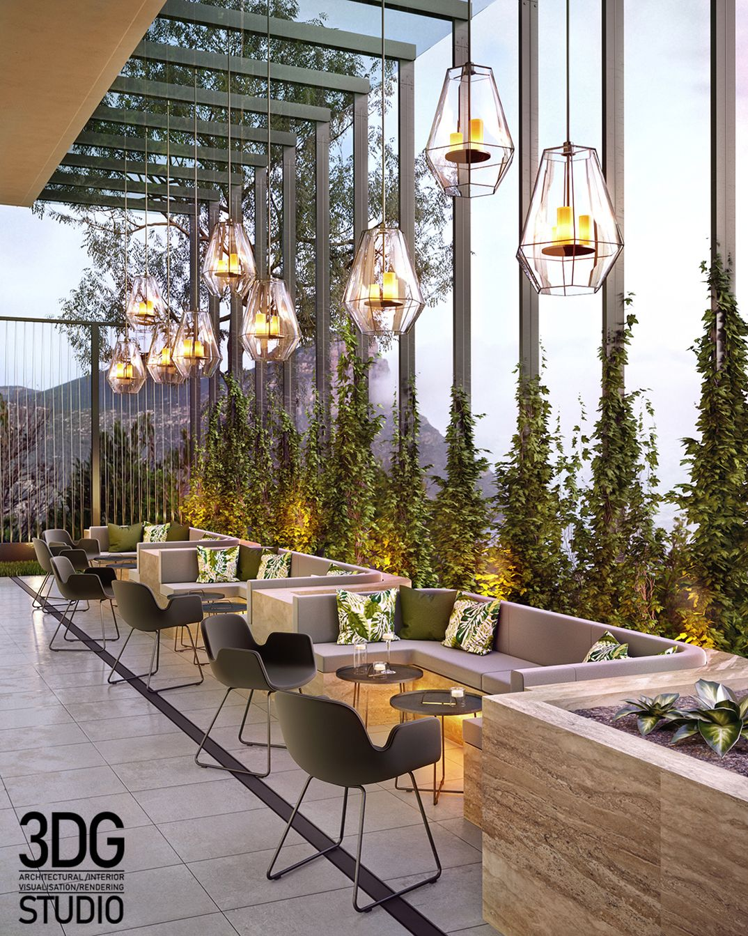 Restaurant terrace visualization.