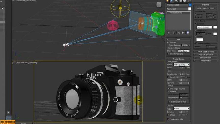 3ds max 2016 Film Sensor e Focale Physical Camera