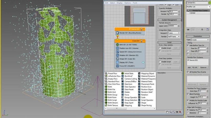 Particle Flow 3ds max 2015: Il Modificatore Particle Face Creator