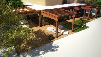 Veranda con giardino - Legno e vetro