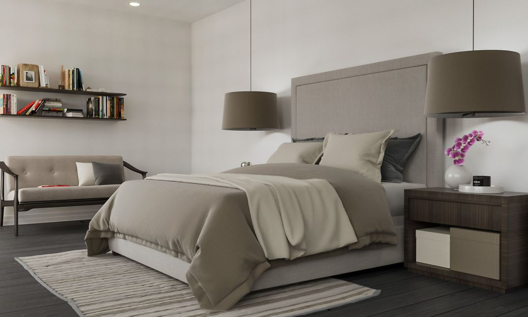 Bedroom restoration hardware scene