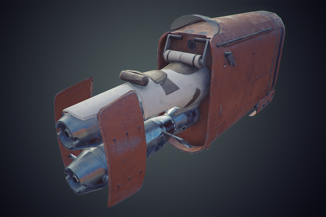 Rey's Speederbike - low poly