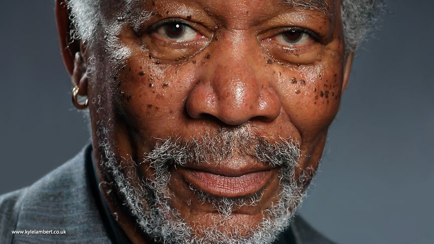 Morgan Freeman finger painting on iPad