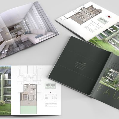 Render di interni/esterni edifici e realizzazione brochure illustrativa progetto.