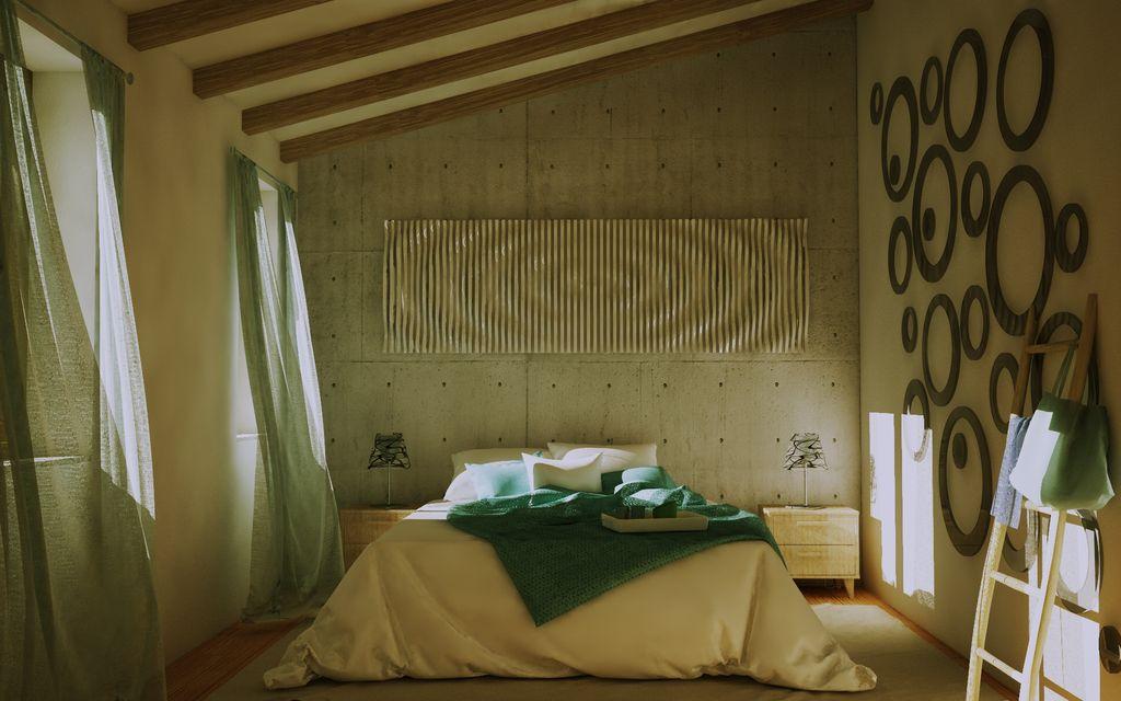 Studio arredi e materiali di una camera da letto