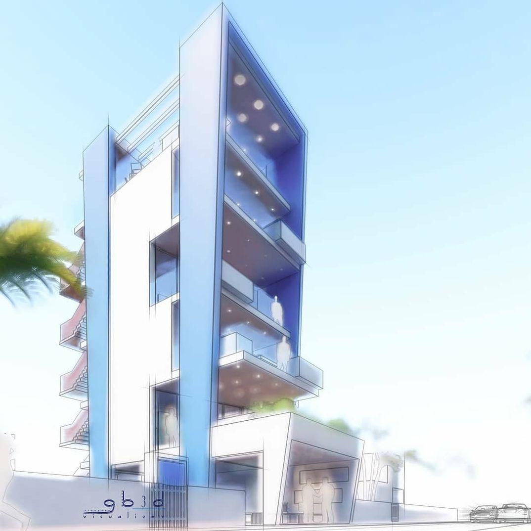 Concept di un edificio residenziale moderno